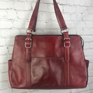 Fossil. Large Red leather tote/laptop bag